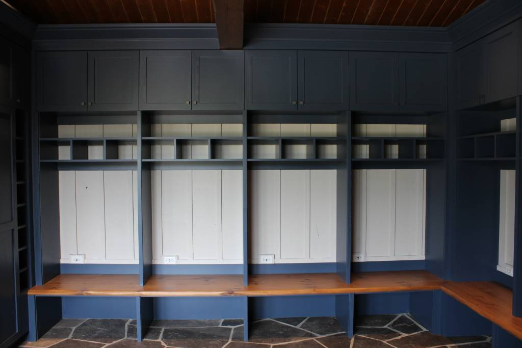 blue themed cabinetry