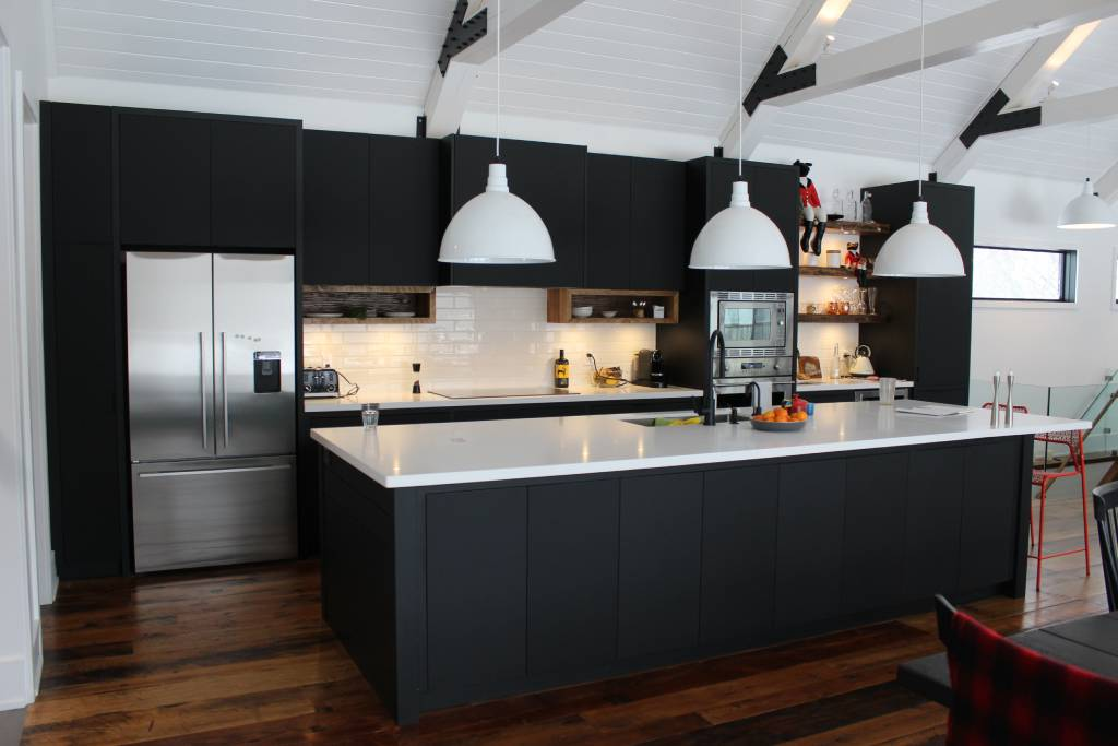 dark-themed kitchen cabinets