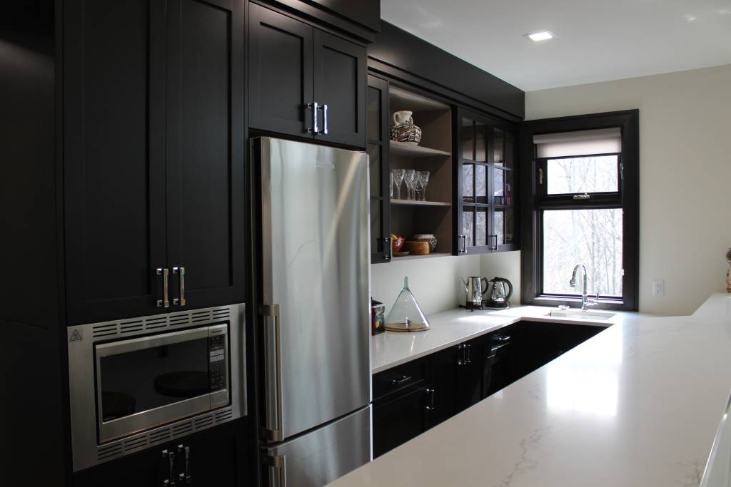 dark-themed kitchen