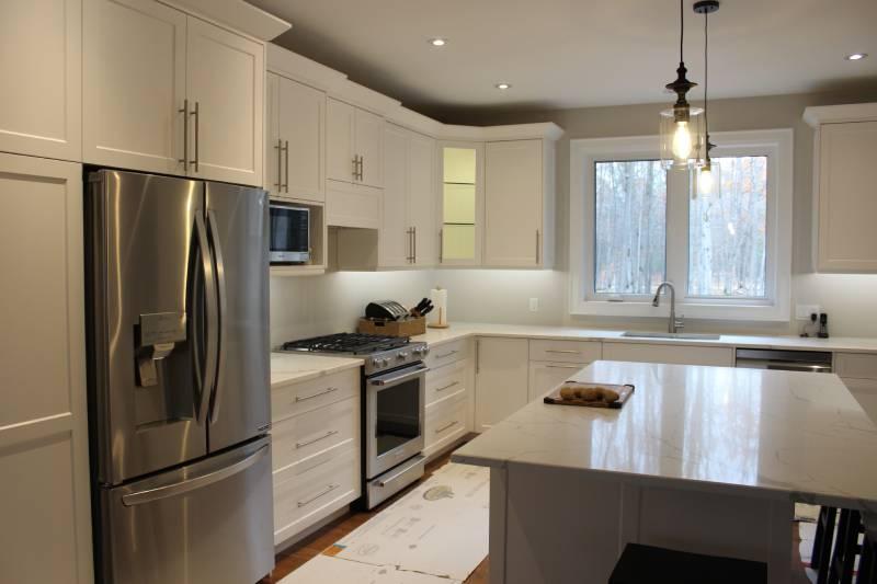 white kitchen counter top